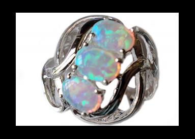 Bague argent avec opale