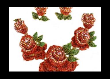 Grande parure strass roses rouges
