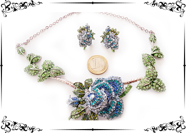 Parure strass roses bleues