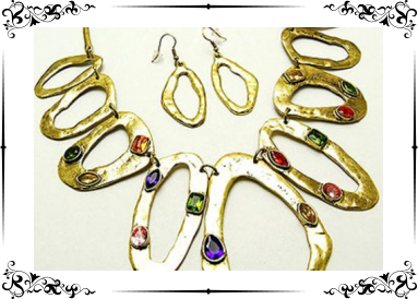 Parure métal martelé et zirconias multicolores