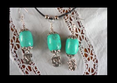 Parure pendentif turquoise véritable