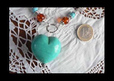 Parure coeur en turquoise lourde avec dégradé perles d'ambre