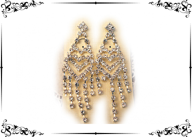 longues boucles strass