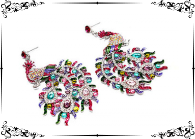 Boucles d'oreille strass paon multicolore(couleur argent)