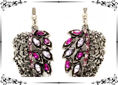 Boucles fantaisie strass roses feuilles
