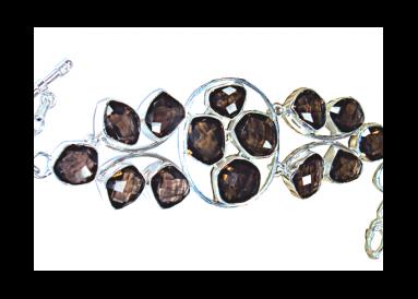 Bracelet argent et quartz fumés vue globale
