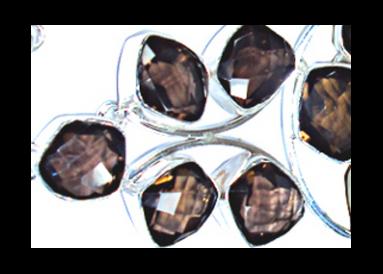 Bracelet argent et quartz fumés détail