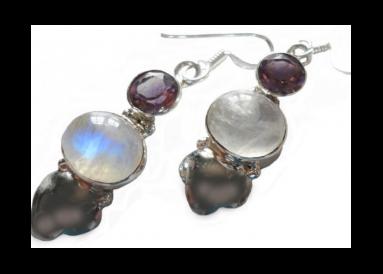 boucles argent et pierres de lune avec améthystes
