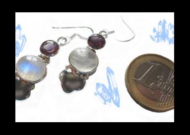 boucles argent et pierres de lune avec améthystes témoin