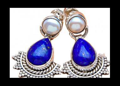 Boucles d'oreille argent avec lapis lazuli et perles