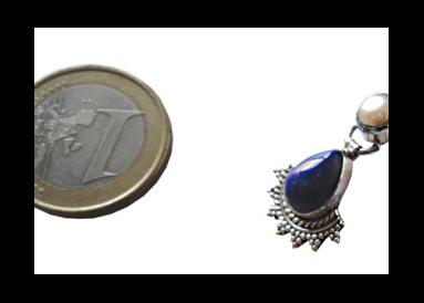 Boucles d'oreille argent avec lapis lazuli et perles témoin