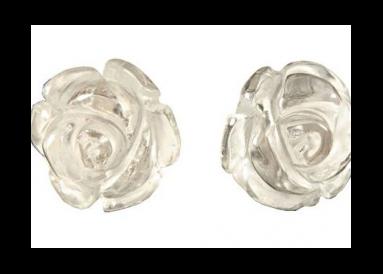 Boucles fleurs quartz blanc(cristal naturel) face