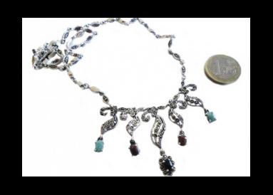 Collier argent et marcassites avec rubis émeraudes et saphirs 2