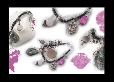 Bracelet perles fines avec breloques composition
