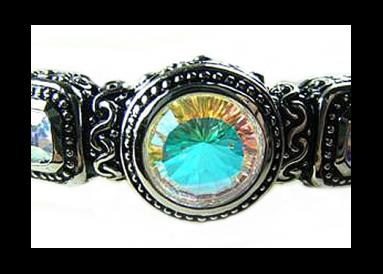 """Bracelet argent et topazes traitées """"mystic arc en ciel"""" face"""