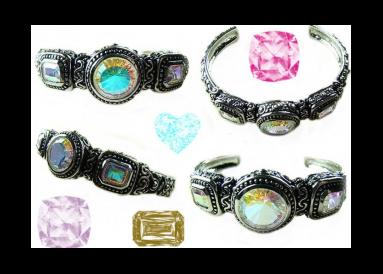 """Bracelet argent et topazes traitées """"mystic arc en ciel"""" composition"""