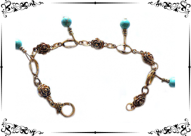 bracelet fantaisie avec turquoises véritables breloques vue globale