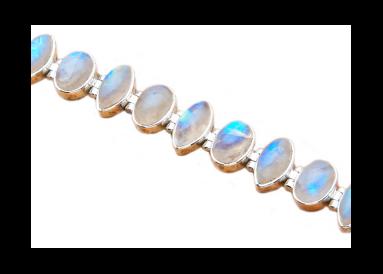 Bracelet argent et pierres de lune détail