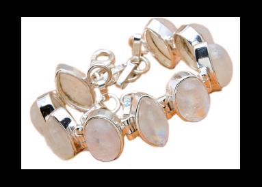 Bracelet argent et pierres de lune vue globale