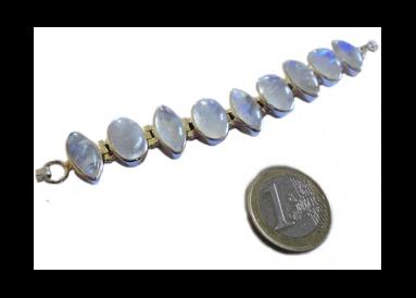 Bracelet argent et pierres de lune avec témoin