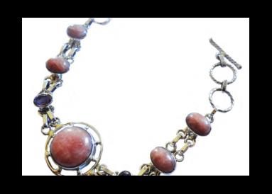 Bracelet argent avec rhodocrosites et améthystes vue globale