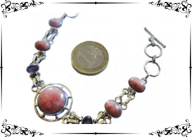 Bracelet argent avec rhodocrosites et améthystes avec témoin