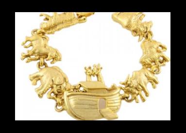 """Bracelet métal doré """"l'arche de Noé"""" vue globale"""