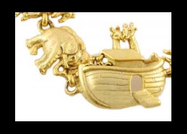 """Bracelet métal doré """"l'arche de Noé"""" détail"""