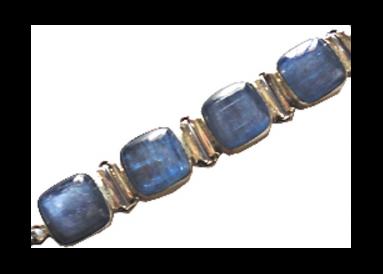 Bracelet argent 925 avec kyanites polies détail