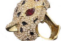 bague zircons copie joaillerie : leopard yeux rubis