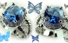 Bague argent topaze bleue ovale