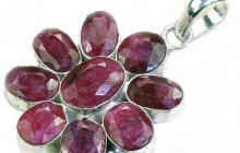 pendentif pierres précieuses sur argent : rubis