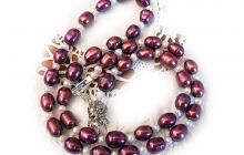 collier perles de culture colorées bordeaux