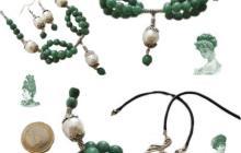 Parure perles de nacre et jade vert