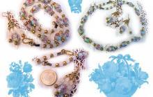 Parure en perles de verre fleuries jaune