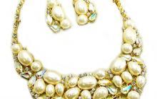 Parure fantaisie perles et strass aurore boréale