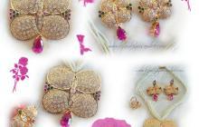 Parure goutte d'eau zircon rose et perles fines