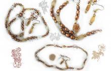 Parure perles avec opales de feu et aigue marines