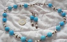 quartz bleus avec perles de culture