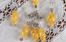 Parure ambres jaunes navettes