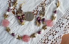 Parure fleurs quartz rouges et perles de culture bicolores
