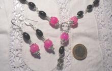 Parure quartz roses et noirs