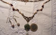 Parure grenats, fleur jaspe et perles de culture