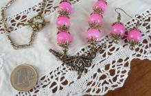 Parure quartz roses polis pendentif art nouveau
