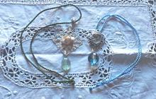 Lot de 2 pendentifs perle et fluorite