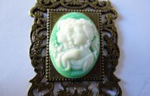 Camée résine 2 soeurs (vert)