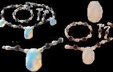 Parure quartz et opalites facettées