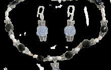 parure obsidienne et fleurs oeil de chat avec perles rivière