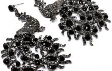 boucles d'oreille strass paon noir (couleur argent)