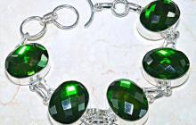 Bracelet argent gros quartz verts taillés vue globale